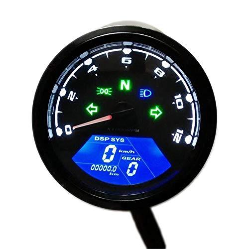 Motorrad Tacho Tachometer Kilometerzähler Universal Drehzahlmesser Gauge Backlit Dual Speed Meter Wasserdicht Multifunktions Digital Instrument mit LED-Anzeige - LIEFERZEIT: 3 bis 5 Werktage