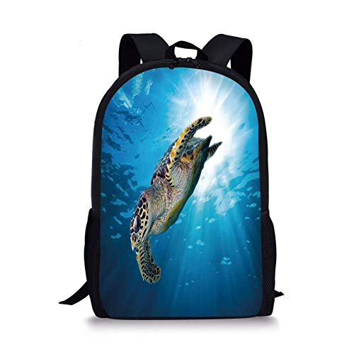 School Bags Turtle,Hawksbill Sea Turtle Dive Deep Into The Blue Ocean Against Sun Rays,Yellow Brown Aqua Blue for Boys&Girls Mens Sport Daypack -