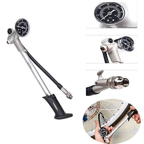 WXH Bicicletta Portatile Mini Bike Pump Tires Ciclismo, con barometro, Impugnatura ergonomica, Lega di Alluminio di Alta qualità, Mountain Bike Batteria Auto