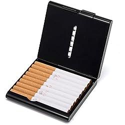 Boîte à Cigarette Métal Etui 20 Cigarettes Métallique Cuir Rangement de Cigarettes Porte-Cigarettes Homme(Femmes),Noir...