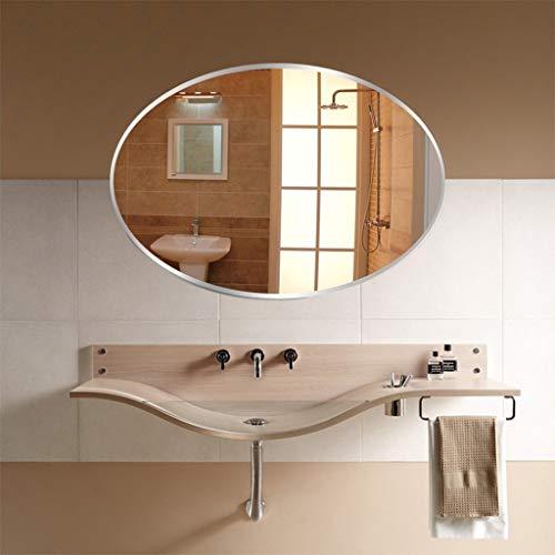 Klar Abgeschrägten Glas Licht (An Der Wand Befestigter Badezimmer-Spiegel, Abgeschrägter Polierfrisiertisch-Spiegel-Moderne Ovale Dekor-rahmenlose Hängende Wand-Spiegel-Schlafzimmer-Möbel (Size : 70x90cm))