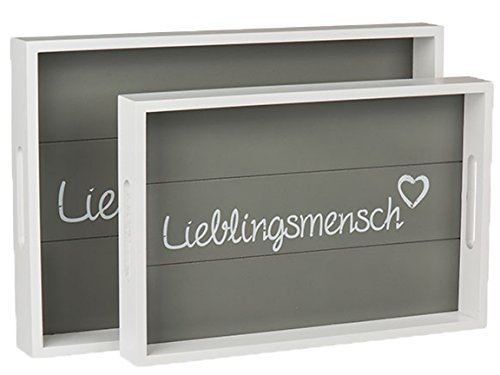 Bada Bing 2er Set Holz Tablett Dekotablett Lieblingsmensch Herz Planken Vintage 98
