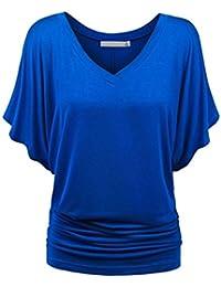 3ef378562ca7 LILCAT Damen V-Ausschnitt Shirt Frauen Sommer Kurzarm Shirt Solide Casual T-Shirt  Oberteile
