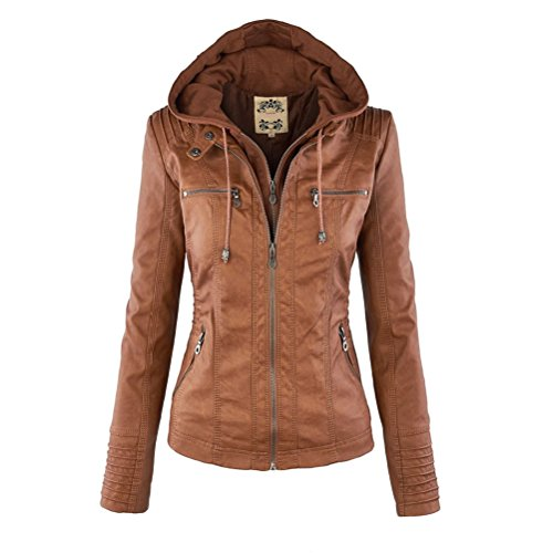 Zhhlinyuan Heiße Angebote Classic Fashion Womens Lapel Long Sleeves Leather Zipper Jacket for Ladies Solid Color Removable (Check Jacket Suit)