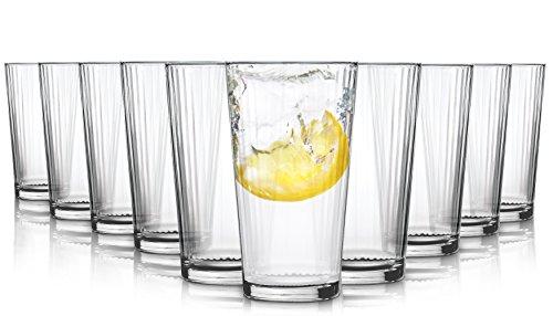 Pasabahce Milano Wassergläser/Spülmaschinenfest / 10-teiliges Set / 370 ml/Alle Glaeser sind aus Einem Stück geblasen und haben den beruhtem polierten Mundrand.