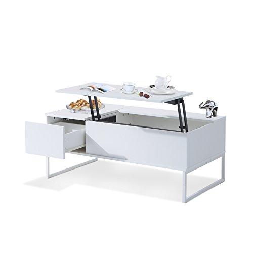 Mesa de Centro 110x60x45cm Mesita Te Elevable Muebles Salón Comedor Blanco NUEVO
