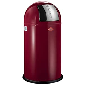 Wesco Pushboy 50 Litre Waste Bin 40 x 40 x 75 cm Ruby Red