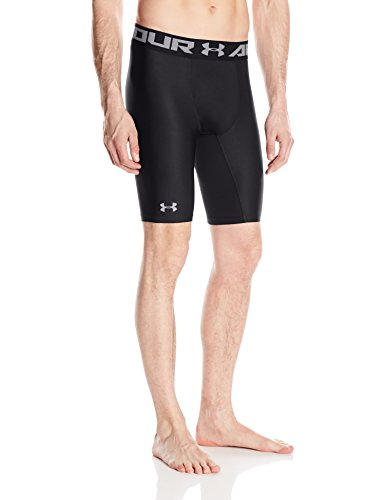 Under Armour HG Armour 2.0 Long Short Pantalones Cortos Deportivos, Hombre, Negro (Black), LG