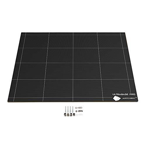 ANYCUBIC CHIRON 3D Drucker Ultrabase Heizbett 430x410 mm mit 12V/24V dualer Stromversorgung, Glasplatte beheizt, mit Clips