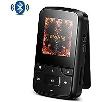 AGPTEK Reproductor MP3 Bluetooth Deportivo con HD Pantalla 1.5 Pulgada, G6 Mini Clp3 Mp3 Running con con Radio FM, Grabadora de Voz y Auriculares, Banda del Brazo, Funda Silicona, Negro