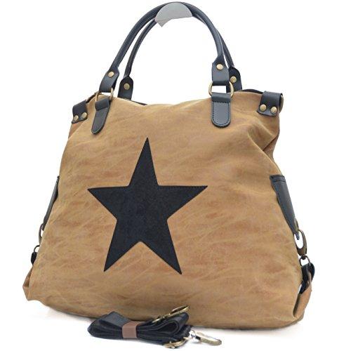 Vain Secrets Sternen Shopper Damen Handtasche mit Schulterriemen Caramel