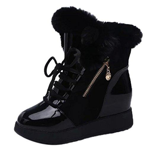 Preisvergleich Produktbild Herbst Winter Schneeschuhe Damen, DoraMe Frauen Pelz Flache Stiefeletten Plüsch Warme Stiefel Baumwolle Schnürstiefel (Schwarz, 37)