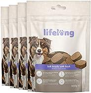 Amazon-Marke: Lifelong - Hundeleckerli, reich an Protein mit Ente (4 Packungen x 300gr)