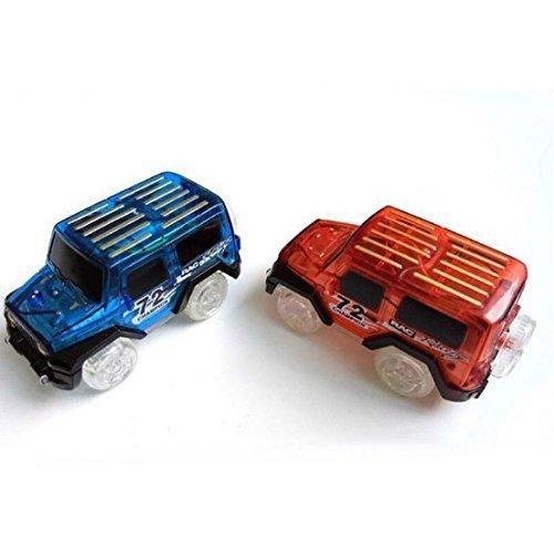 UChic 2 STÜCKE Kinder LED Elektroauto Spielzeug für Magic Tracks Floureszierende Erstaunliche Racetrack Rennwagen (nicht Tracks) Rot und blau Spielzeug-autos Und-trucks Rc-audio