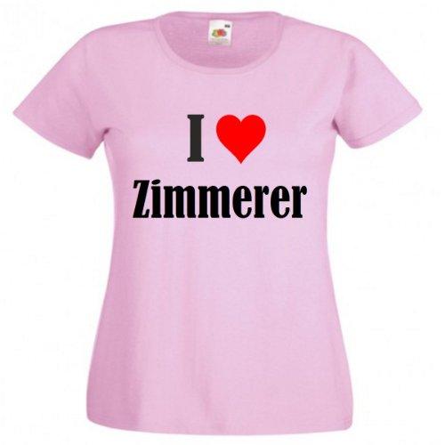 """T-Shirt """"I Love Zimmerer"""" für Damen Herren und Kinder in Pink Pink"""