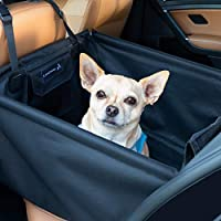 LIONSTRONG Hunde Autositz, kleine bis mittlere Hunde, Hundesitz wasserdicht, Hundedecke, Einzelsitz für den Rücksitz +inkl Gratis Sicherheitsgurt für den Hund