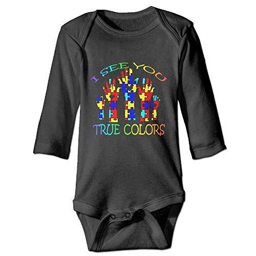 Monicago Neugeborenes Baby-Jungen-Mädchen-Bodysuit-Lange Hülse, I See Your True Colors Autism Autistic Unisex Baby Boys Girls Long Sleeve Bodysuits