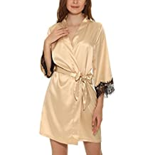 Yulee Femme Pyjama Kimono Satinée Robe de Chambre Longue