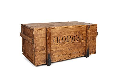 Uncle Joe´s Truhe Holzkiste Champagne, 85 x 45 x 46 cm, Holz, Hellbraun, Vintage, Shabby chic Couchtisch, braun, 85x45x46 cm -
