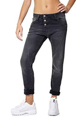 Please Damen Jeans Baggy P78A, Baggy, Schwarz M