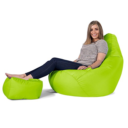 Highback Gaming Sitzsack Loungesessel Mit Passendem Hocker - Lime