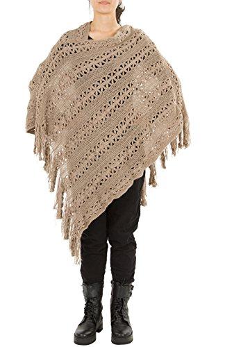 Huan Xun femmes longue Pampille Poncho au Crochet Châle écharpe Fashion - E Khaki