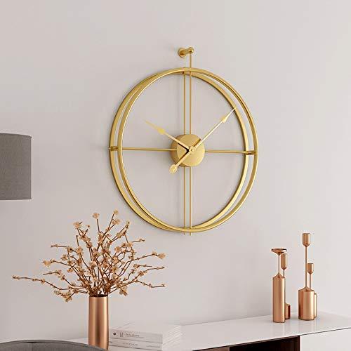 SMAQZ Wanduhr - Nordic kreative Mode schmiedeeisen wanduhr, Wohnzimmer einfache Uhr, Handwerk Uhr goldrahmen + Gold Nadel B 59 * 52 cm