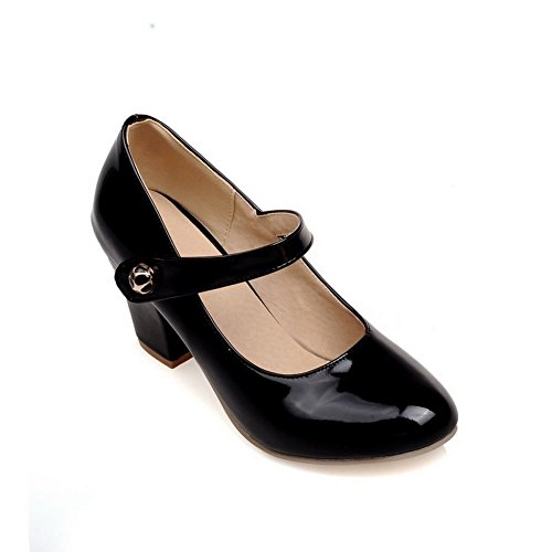 balamasa-ladies-chunky-heels-pull-on-round-toe-black-patent-leather-pumps-shoes-7-uk