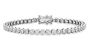 Tuscany 925 Silver Sterling Silver Round White Cubic zirconia Tennis Bracelet of 18 cm/7 inch