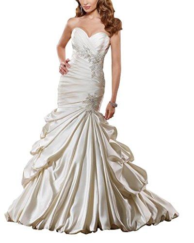 GEORGE BRIDE Luxus Meerjungfrau/Trompete Satin Kapelle Zug Brautkleider Hochzeitskleider,Groesse...