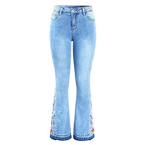 NCAYKL Stickerei Flare Jeans Frau Ultra Stretchy Dünne Denim-Hosen Hosen Für Frauen Disco-flare Jeans