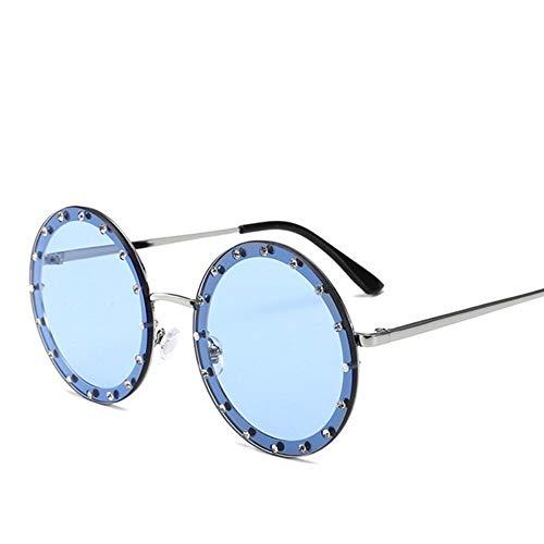 MoHHoM Sonnenbrille Oversized Runde Niet Designer Sonnenbrille Frauen Vintage Metallrahmen, Klare Gläser Sonnenbrille Pink Gelb Blau Brille Silber Blau