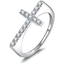 JewelryPalace 925 plata Anillo Cruz con Circona cúbico de boda