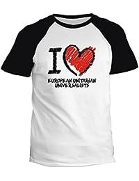 Idakoos I love European Unitarian Universalists chalk style - Religion - T-Shirt Raglan