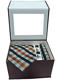 Riyasat - Multi Colour Micro Fibre Men Tie, Cufflink and Pocket Square Gift Set