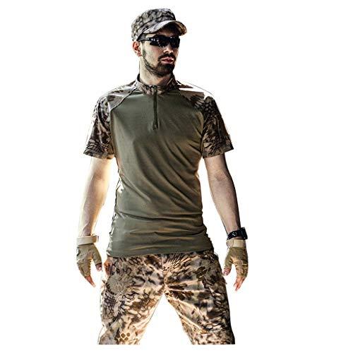 XXHDYR Camouflage schwarz Army Fan Sommer kurzärmelige Tarnkleidung männlich Tarnen (Color : Desert, Size : XL-XXL) -