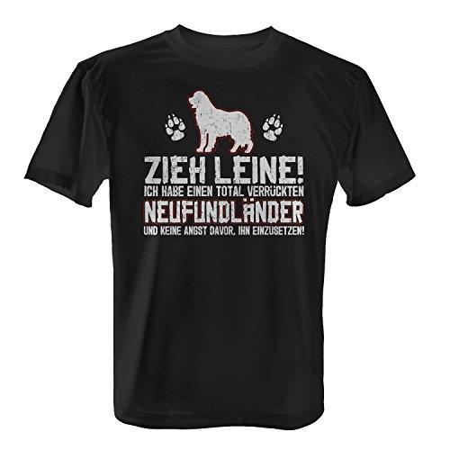 Fashionalarm Herren T-Shirt - Zieh Leine - verrückter Neufundländer   Fun Shirt Spruch lustige Geschenk Idee Herrchen Hunde Besitzer Rasse Hund, Farbe:schwarz;Größe:5XL -