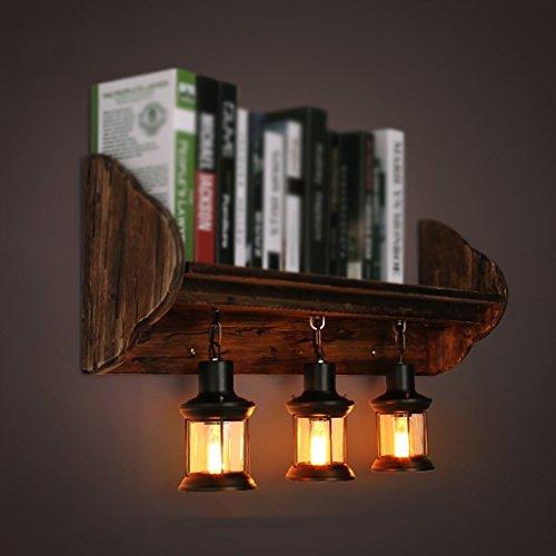 WW Wandleuchte Retro Wandleuchte Industrie Wind Kreative Persönlichkeit Schlafzimmer Nachttisch Massivholz Dekorative Bücherregal Lampen Schwarz Bücherregal Nachttisch