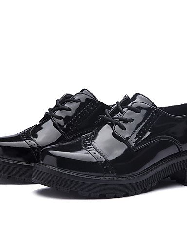 ZQ Scarpe Donna-Stringate-Casual-Comoda-Piatto-PU (Poliuretano)-Nero , black-us8.5 / eu39 / uk6.5 / cn40 , black-us8.5 / eu39 / uk6.5 / cn40 black-us6 / eu36 / uk4 / cn36