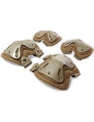 Airsoft táctico ajustable de la rodilla del codo almohadillas protectoras Conjunto de protección de engranajes Deportes Caza de ratón Shooting Caqui
