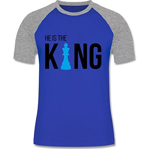 Shirtracer Typisch Männer - Schach-Herren King - Herren Baseball Shirt Royalblau/Grau meliert