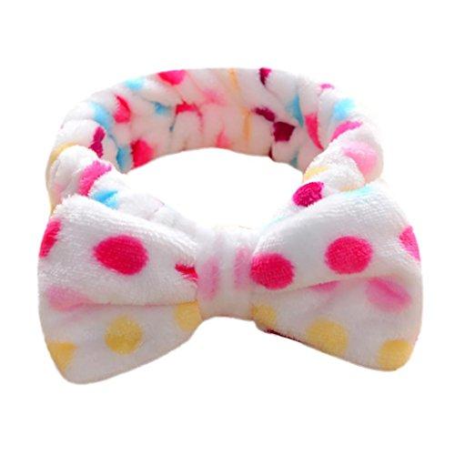 Minshao Frauen Bogen Knoten Hairband Kopf Verpackungs Bad Badekurort Gesichts Stirnband (H) (Tuch Knoten-knopf)