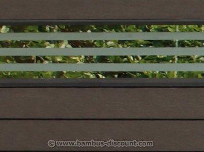 bambus-discount.com WPC Zaun Glasprofil, flach 180x15cm - Sichtschutz, Sichtschutz Elemente, Sichtschutzwand, Windschutz, Sichtschutzzäune