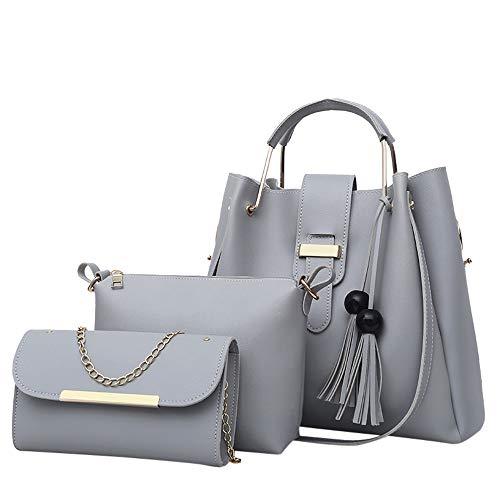 Borse Donna Elegante - Donne Spalla Borsa - Satchel Rivetto - Donna in Pelle Catena Borsa - Tote Borsa Crossbody Spalla Borsa - Borse A Spalla - Messenger Bag (Grigio)