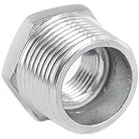 KI - Racor reductor, reducción de acero inoxidable V4A. Conexión roscada, rosca macho x hembra, rosca exterior x interior.