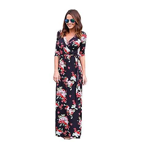 irina Femmes V Neck Boho Long Maxi Evening Party Robe Beach Robe florale (S)