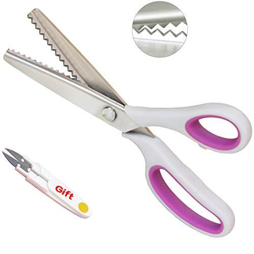 Hui Tong Soft Grip rutschfeste Stoff-Zackenschere Geeignet für Rechts- und Linkshänder(Farbe optional)