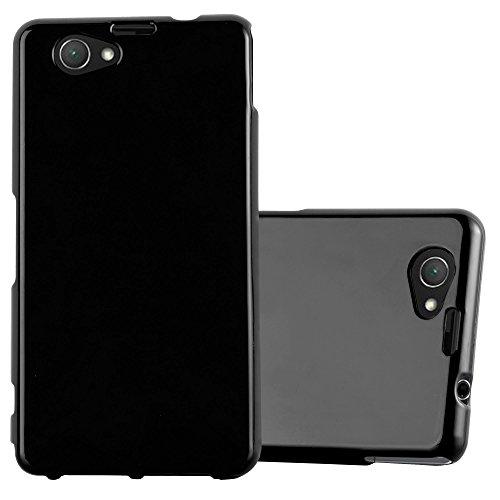Preisvergleich Produktbild Cadorabo Hülle für Sony Xperia Z1 COMPACT - Hülle in Jelly SCHWARZ – Handyhülle aus TPU Silikon im Jelly Design - Silikonhülle Schutzhülle Ultra Slim Soft Back Cover Case Bumper