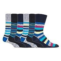 6 pairs Mens SockShop Cotton Gentle Grip 6-11 uk Socks (6 x RJ563 C/B Stripe)