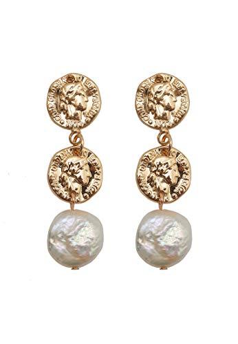 HALLHUBER Ohrringe mit echter Süßwasserperle & Münzen gold, O.A